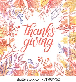 Thanksgiving typography.Hand drawn lettering with stylized pumpkins,leaves in fall colors.Thanksgiving design perfect for prints,flyers, banners, invitations, special offer and more.