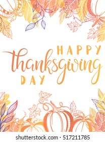 Thanksgiving typography.Happy Thanksgiving Day - Hand painted lettering with stylized pumpkins and leaves in fall colors perfect for Thanksgiving Day.Thanksgiving design for cards, prints and more.