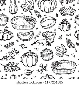 Thanksgiving Vector Background. Autumn Harvest Symbols Seamless Pattern. Hand Drawn Doodle Pumpkin Pie, Vegetables, Different Varieties of Pumpkins, Spices, Leaves.