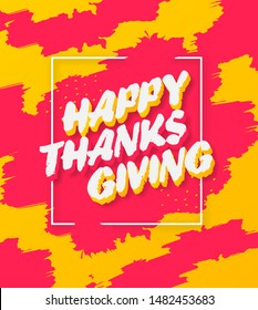 Thanksgiving vector banner design with frame, brushstroke and 3d text
