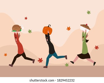 Thanksgiving vector concept: Group of teenagers running together while carrying turkey, pumpkin, and pie to celebrate thanksgiving day