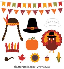Thanksgiving vector decoration and photo booth props
