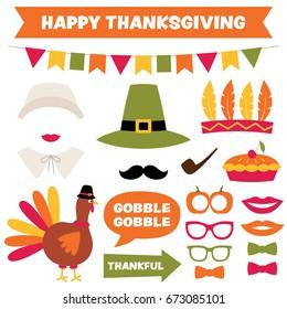 Thanksgiving vector design elements set