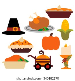 Thanksgiving vector. Thanksgiving dinner. Pie, turkey, pumpkin, corn.