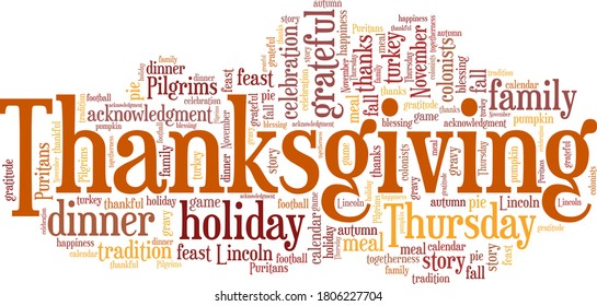 Thanksgiving vector illustration word cloud isolated on a white background.