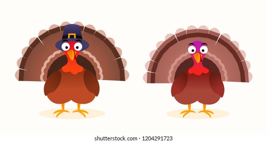 Thanksgiving vector isolated cartoon turkey with pilgrim hat.