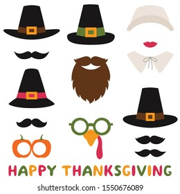 Thanksgiving vector photo booth props – pilgrim hats and bonnet