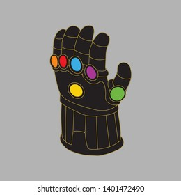 Thanos Glove illustration with colored gems