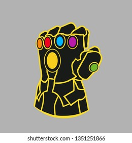 Thanos's colored glove with the stones in it. Colored fantastic glove with infinity stones in it isolated on a gray background. Glove with multicolored gems. Thanos Glove. Vector illustration