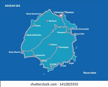 Thasos Island Vector Map Greece. This is a very detailed map of Thasos Island in Greece Aegean sea. It has a layer with roads and major cities. - Vector