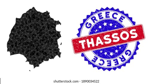 Thassos Greek Island map polygonal mesh with filled triangles, and textured bicolor stamp seal. Triangle mosaic Thassos Greek Island map with mesh vector model, triangles have different sizes,