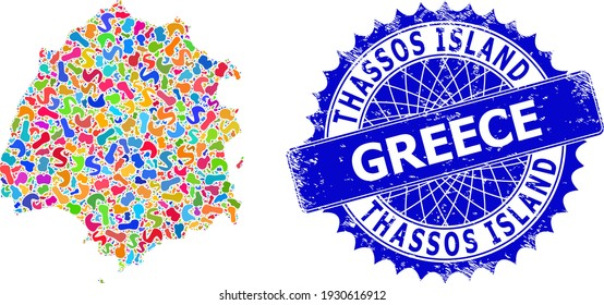 Thassos Island map vector image. Blot collage and distress stamp seal for Thassos Island map. Sharp rosette blue seal with tag for Thassos Island map.