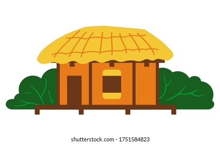 Thatched house, traditional house of Jeju island, stone house or building with thatched roof, isolated korean symbol. Seongeup folk village, popular place for visiting tourists in South Korea