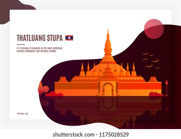 Thatluang Stupa, Vientiane with a national symbol of Laos. Southeast Asia landmark.