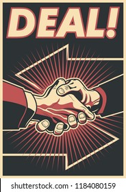 That's a bargain! Deal Poster with a handshake
