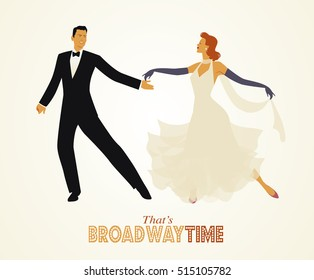 That's Broadway time: Elegant couple dressed in 1950s clothes style, dancing retro style