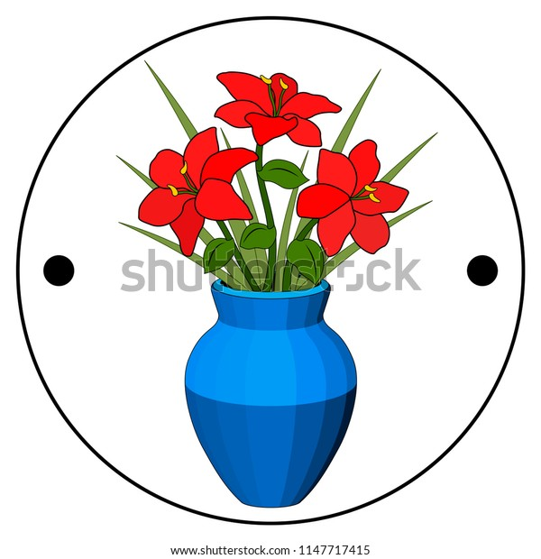 Thaumatrope, old animated optical toy of the 19th century, Taumatrop, Bouquet in vase red flowers, blue pot, flower arrangement, six petals, green grass leaf stem, realistic drawing, light and shadow