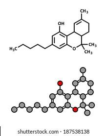 THC (delta-9-tetrahydrocannabinol, dronabinol) cannabis drug molecule. Stylized 2D rendering and conventional skeletal formula.