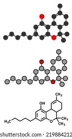 THC (delta-9-tetrahydrocannabinol, dronabinol) cannabis drug molecule. Conventional skeletal formula and stylized representations.