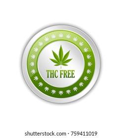 THC FREE badge with marijuana hemp (Cannabis sativa or Cannabis indica) leaf on white background