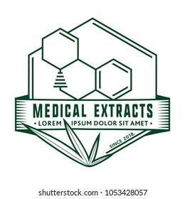 THC molecule / Medical (marijuana, cannabis) extracts. Vector and illustration. Logo design.