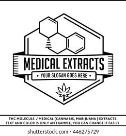 THC molecule / Medical (marijuana, cannabis) extracts. Vector and illustration. Logo design. T-shirt template.