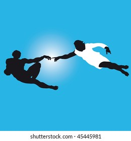 """the creation of Adam""  Silhouettes illustration of the famous fragment of Sistine Chapel fresco by Michelangelo. Vector."