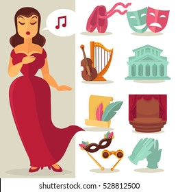 Theater acting performance icons set with singing actress. Vector Illustration.