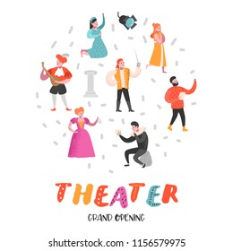 Theater Actor Characters Set. Flat People Theatrical Perfomances. Artistic Man and Woman on Stage. Vector illustration