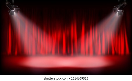 Theater auditorium with red curtain. Show on the stage. Spotlights on red background. Vector illustration.