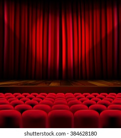 Theater auditorium with rows of red seats and stage with curtain - vector illustration