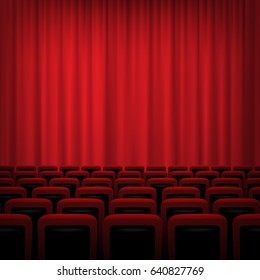 Theater background with red curtains and chairs. Vector illustration.