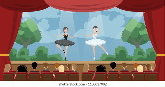 Theater ballet perfomance. Two actresses dancing in front of audience. Red curtains and decorations on the background. Vector flat illustration