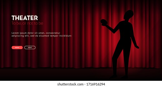 Theater banner with silhouette of actor and curtain on the background