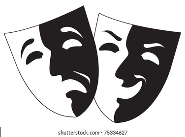 theater black and white emotion masks, vector