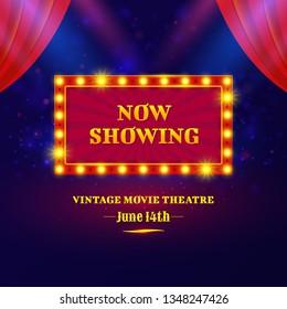 Theater or cinema sign design. Shining retro billboard with spotlights. Vintage movie theatre poster. Vector illustration.
