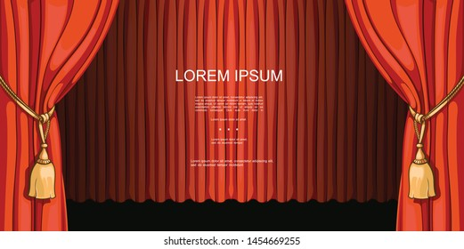 Theater and entertainment shows premiere template with opened and closed red beautiful curtains in cartoon style vector illustration