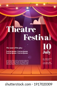Theater festival cartoon poster with backstage red curtains and wooden scene with glowing spotlights and garland. Invitation flyer for theater or cinema show, entertainment concert Vector illustration