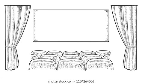 Theater hall with curtain, screen and row of seats. Vector engraving vintage black illustration. Isolated on white background. Hand drawn design element for poster