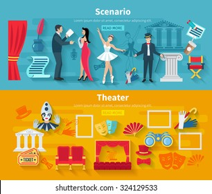 Theater horizontal banner set with scenario flat elements isolated vector illustration