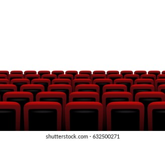 Theater horizontal seamless pattern. Vector red armchairs.