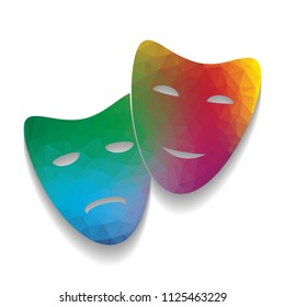 Theater icon with happy and sad masks. Vector. Colorful icon with bright texture of mosaic with soft shadow on white background. Isolated.