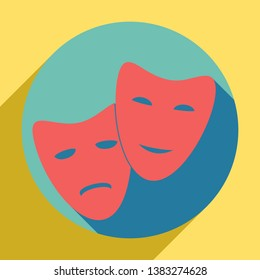 Theater icon with happy and sad masks. Sunset orange icon with llapis lazuli shadow inside medium aquamarine circle with different goldenrod shadow at royal yellow background.