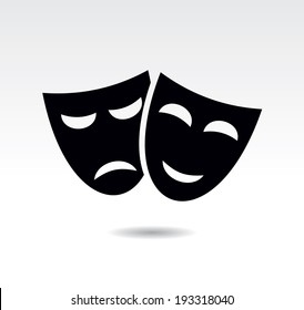 Theater icon with happy and sad masks. vector illustration