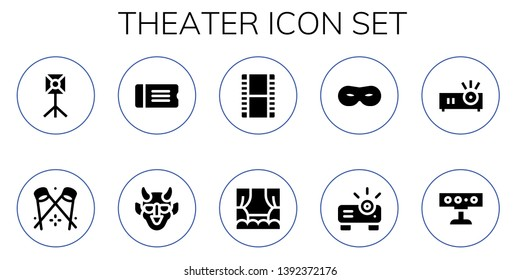 theater icon set. 10 filled theater icons.  Simple modern icons about  - Spotlight, Ticket, Hannya, Film, Stage, Mask, Projector