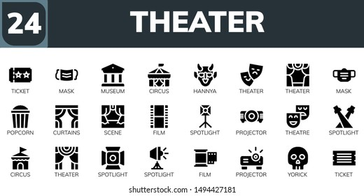 theater icon set. 24 filled theater icons.  Collection Of - Ticket, Mask, Museum, Circus, Hannya, Theater, Popcorn, Curtains, Scene, Film, Spotlight, Projector, Theatre, Yorick