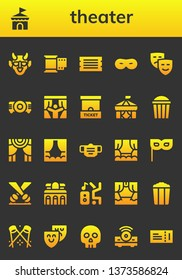 theater icon set. 26 filled theater icons.  Simple modern icons about  - Hannya, Circus, Film, Ticket, Mask, Masks, Projector, Curtains, Ticket office, Popcorn, Theater, Stage