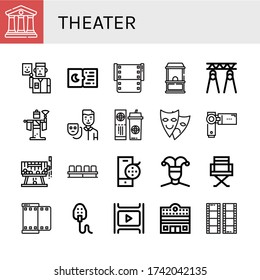 theater icon set. Collection of Courthouse, Actor, Tickets, Film, Ticket office, Spotlight, Kabuki, Ticket, Theater, Videocamera, Raffle, Movie, Film reel, Buffoon, Director chair icons
