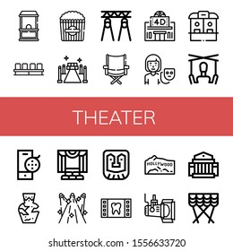 theater icon set. Collection of Ticket office, Movie, Popcorn, Red carpet, Spotlight, Directors chair, Movie theater, Actor, Puppet, Film reel, Amphora, Theater, Spotlights icons