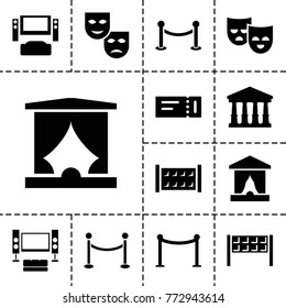 Theater icons. set of 13 editable filled theater icons such as fence, ticket, court, red carpet barrier, mask, tv system